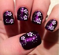 16 Fabulous Purple Nail Designs to Try - Nagelkunst Video Nail Art Designs, Purple Nail Designs, Flower Nail Designs, Flower Nail Art, Nail Polish Designs, Nails Design, Fingernail Designs, Nail Art Violet, Purple Nail Art