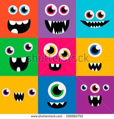 cartoon monster faces vector set. cute square avatars and icons - stock vector
