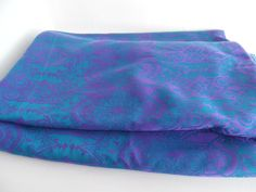 Vintage boho curtains, mid century, purple and kingfisher blue - long 171cm drop by BlindDogVintage on Etsy