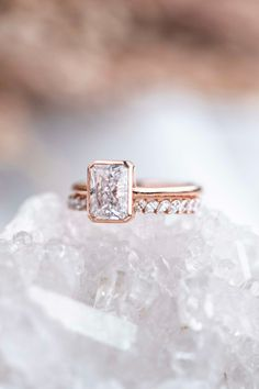 With a cathedral bezel setting, we love all the modern details of the Winnie Engagement Ring setting. Shown here in 14k rose gold paired with the Petite Domino Marquise Band. Handmade Engagement Rings, Engagement Ring Settings, Wedding Rings, Rose Gold, Band, Gemstones, Diamond, Jewelry, Sash