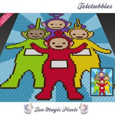Teletubbies crochet blanket pattern; c2c, knitting, cross stitch graph; pdf download; no written counts or row-by-row instructions by TwoMagicPixels, $3.79 USD