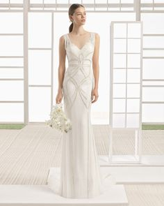 Silk chiffon wedding gown with beaded embroidery. Rosa Clará Soft 2017 Collection.