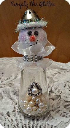 "Snowman Assemblage, Vintage Salt Shaker Snowman ""Savannah"", Glass Shaker, Glitter Snowman Decoration, Christmas Collectible, Original by SimplyTheGlitter on Etsy"