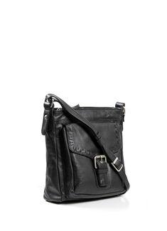 968a3ffede Black Roma 9302 Leather Cross Body Bag - Cross Body Bags - Handbags