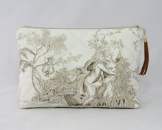 large cosmetic bag toile de jouy