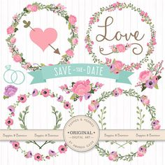This is a set of 21 professionally made, high quality digital wedding images in my pretty Garden Party color scheme. Includes 4 floral wreaths, 2 laurels, 6 banners, 2 hearts, 1 divider, 1 word Love, 2 wedding rings, and 3 flower bunches. Ive included the .ai and .eps file with the