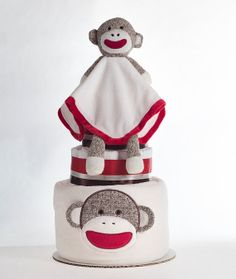 "The ""Sock Monkey"" Diaper Cake. Baby Shower Centerpiece or Gift. on Etsy, $68.00"
