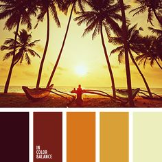 This scheme sets the mood brown-red. Combined with shades of orange and maroon-brown tones it gives warmth. Palette associated with the sunset light and tranquility. It would be good to look into the interior of Africa or in the Moroccan style.