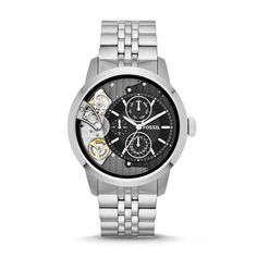Our classic Townsman twist watches have the look and feel of an automatic but the timekeeping accuracy of quartz. With an exposed dial and polished steel, this multifunction is battery operated—so winding will never be on the agenda. Fossil Watches For Men, Mens Watches For Sale, Rolex Watches, Black Stainless Steel, Stainless Steel Watch, Skeleton Watches, Mens Sale, Silver Man, Casio Watch