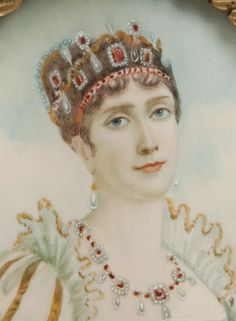 Miniature Watercolor Portrait of Josephine Beauharnais Bonaparte wearing all her rubies. Chateau De Malmaison, La Malmaison, Empress Josephine, Napoleon Josephine, Royal Jewels, Crown Jewels, Adele, First French Empire, French Royalty