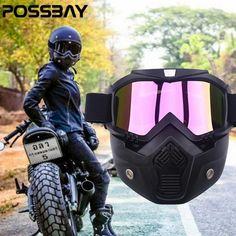 02510ebffd POSSBAY Detachable Mask Ski Goggles For Open Face Half Helmet Vintage  Motorcycle Men Women Outdoor Cycling Motocross Goggles MTB