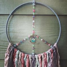 Crafts To Make, Arts And Crafts, Neon Moon, Boho Dreamcatcher, Boho Wall Hanging, Candlemaking, Dream Catcher Boho, Sari Silk, Moon Goddess