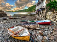 Clovelly Harbour, North Devon, England.