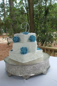 Blue Hydrangea Wedding Cake By tblide on CakeCentral.com
