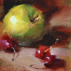 """Daily Paintworks - """"Green Apple and Cherries commission"""" - Original Fine Art for Sale - © Pamela Blaies"""