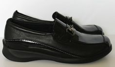 Aetrex Black Leather/Patent Leather Loafer-Womens-Sz 7 WIDE    NWOB #Aetrex #LoafersMoccasins