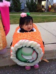 Sushi Costume but she doesn't look happy....