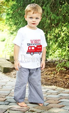 Boys Appliqued and Monogrammed Fire Truck Shirt. $23.00, via Etsy.