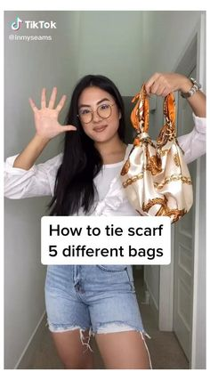 So cool @inmyseams on tiktok #diy #hand #bag #diyhandbag Scarf On Bag, Scarf Top, Diy Scarf, Ways To Tie Scarves, Ways To Wear A Scarf, How To Wear Scarves, Diy Fashion Hacks, Fashion Outfits, Fashion Tips