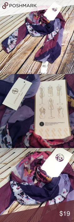 ADRIENNE VITTADINI CHIFFON MULTI/WEAR OBLONG SCARF Beautiful long scarf you can wear multiple ways. Soft chiffon and pretty pattern. Adrienne Vittadini Accessories Scarves & Wraps