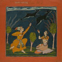 Ragaputra Kusum of Raga Dipak: Folio from a Ragamala Series  Bahu Masters (active ca. 1680–ca. 1720)