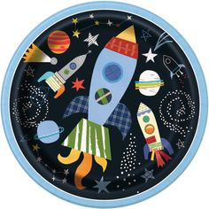Space Party Plates- Space Baby Shower Plates, Space Birthday Plates, Planet Party, Outer Space, G Outer Space Theme, Outer Space Party, Support Bougie, Space Baby Shower, Boy Shower, Shower Party, Astronaut Party, Birthday Plate, 2nd Birthday