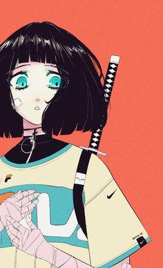 Anime Art Girl, Manga Art, Aesthetic Art, Aesthetic Anime, Arte Indie, Character Art, Character Design, Arte Cyberpunk, Samurai Art