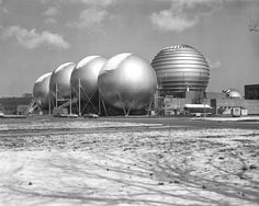 These vacuum spheres, now part of Langley's Hypersonic Facilities Complex, have been dusted by a light fall of snow in this 1969 photo. Round Building, Building A House, World Trade Center, Orleans France, Nasa Langley, Wind Tunnel, Vernacular Architecture, Construction, Science And Nature