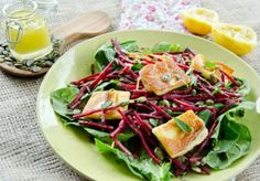 Grilled Halloumi, Beetroot & Pumpkin Seed Salad with Zesty Dressing