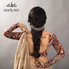 Full sleeve Kalamkari blouse Also the headband! New Saree Blouse Designs, Fancy Blouse Designs, Full Sleeves Blouse Designs, Kalamkari Blouse Designs, Saris, Moda Indiana, Kalamkari Dresses, Kalamkari Saree, Kalamkari Blouses