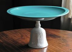Cake Stand Dessert Pedestal Milk Glass And Teal By E.Isabella Designs, $29