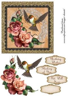 Hummingbird and Roses 1 Card Front on Craftsuprint designed by Maggie Skerrett - Beautiful 6 inch card front featuring a Hummingbird with roses on a background of satin and lace.  - Now available for download!
