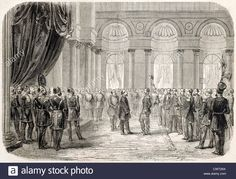 Alexandru Ioan Cuza received by the Sultan in Topkapy palace in Istambul Stock Photo