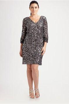 Aiden Mattox Salon Z Sequin Dress, $365, available up to a size 16 at Saks Fifth Avenue.