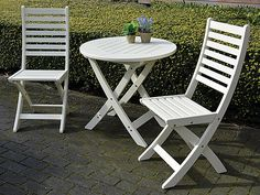 Folklore White Folding Garden Table and Chairs