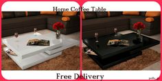 Coffee Table Black or White Contemporary Square 3 Layers Home Modern Furniture Wooden Living Room Furniture, Modern Furniture, Home Furniture, Home Coffee Tables, Modern Coffee Tables, Contemporary Coffee Table, Chrome, Woodworking, Simple