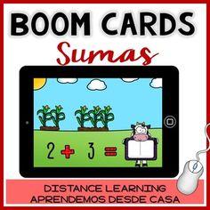 BOOM CARDS: Juego interactivo SUMAS número 1-10 español - Distance Learning Sumo, Math Literacy, Distance, Farm Theme, Cvc Words, Learning Spanish, Learning Activities, Sentences, Kindergarten