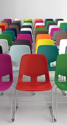I love this idea, but the OCD part of me would go crazy with competing between choosing a seat by color, and choosing a seat by location in the room.
