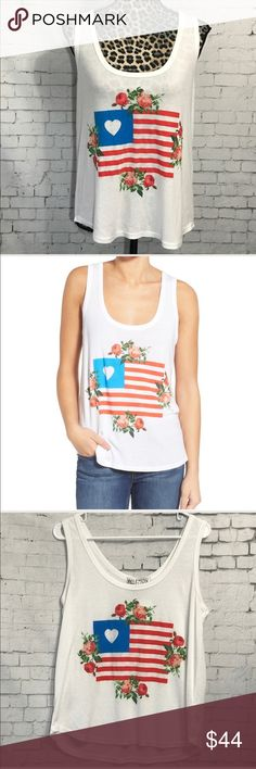 "Wildfox Granny Flag and Floral Tank Top NWT Medium This is brand new with tags!  Super cute flower and flag graphic. Materials tag pictured. Pit-pit measures 19"". 26"" length. Wildfox Tops Tank Tops"