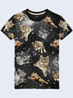 Cats in the Space Shirt, Funny T Shirt, Mens Shirt with Cats, Galaxy Shirt, Cool Shirt
