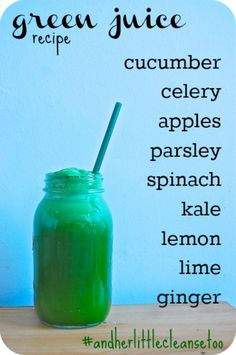 So the exact measurements that I used to make a 24 oz green juice is: 1/2 cucumber, 5 celery stalks, 3 small apples, small bunch of parsley, 2 handfuls of spinach, 2-3 stalks (?) of kale, 1 lemon, 1 lime, a small nugget of ginger You can add more or less of any ingredient to taste – but this amount makes a good amount of juice & I love the flavor.