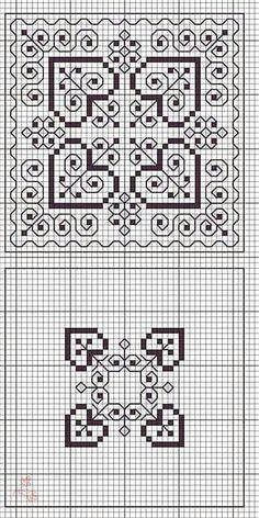 Big and small variations of a Blackwork design Biscornu Cross Stitch, Blackwork Cross Stitch, Cross Stitch Heart, Cross Stitch Borders, Cross Stitch Designs, Cross Stitching, Cross Stitch Patterns, Motifs Blackwork, Blackwork Embroidery