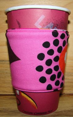 Flower Power Reusable Fabric Coffee Cozy by MyCozyCabinCreations, $4.00