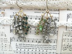funky earrings rhinestone assemblage mismatch by lilyofthevally