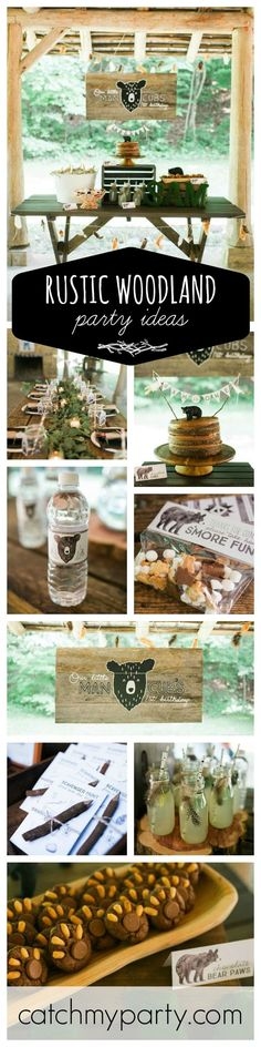 This adorable rustic woodland party is just so pretty!! You won't want to miss it if your looking for inspiration. Everything is gorgeous! From the Birthday cake to the Party favors. See more party ideas at http://CatchMyParty.com