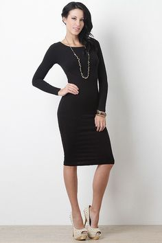 Casual Long Sleeve Boat Neck Midi Dress