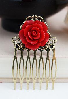 Red Rose Bridal Hair Comb