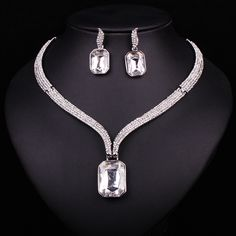 Fashion Clear Rhinestone Crystal Necklace Earrings Set Wedding Bridal Bridesmaid Choker Jewelry Sets For Events Party Decoration