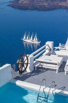 breathtakingdestinations: Santorini - Greece Four Stacks; Four Peaks All White
