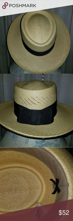 Ventable Panama Straw Fedora Hat Handwoven Panama Straw hat with breathable vent-weaving & traditional grosgrain black ribbon hat band. Purchased in San Diego at Village Hat boutique. Excellent craftsmanship and condition. Worn twice. Stylish and lightweight. Village Hat SD Accessories Hats